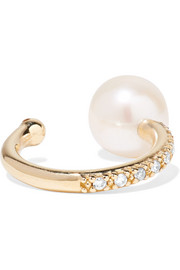 14-karat gold, pearl and diamond ear cuff