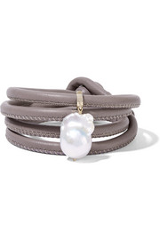14-karat gold, leather and pearl wrap bracelet