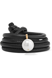 Convertible leather, 14-karat gold and pearl bracelet