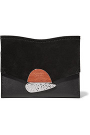 Curl embellished suede and textured-leather clutch
