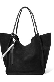Leather-trimmed suede tote