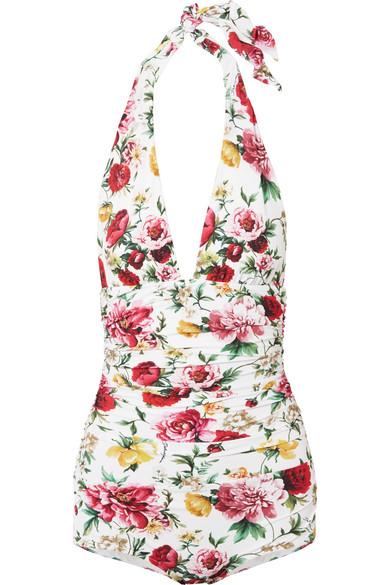 Dolce & Gabbana Floral bedruckter Badeanzug mit Neckholder und Raffungen