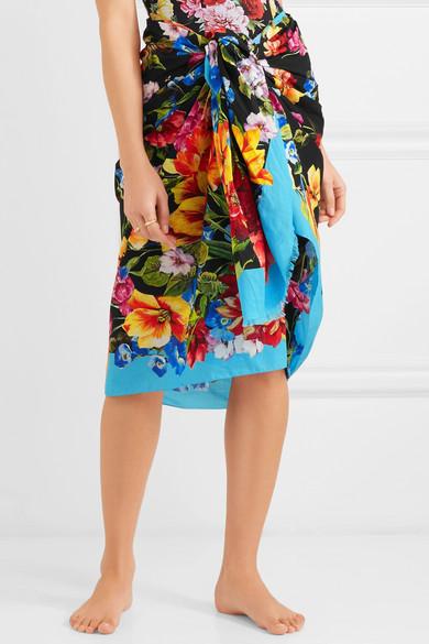 Dolce & Gabbana Pareo aus Baumwoll-Gaze mit floralem Print