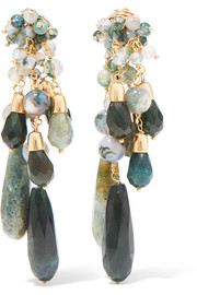 Rifugio gold-tone agate clip earrings