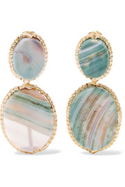 Parche gold-tone agate clip earrings