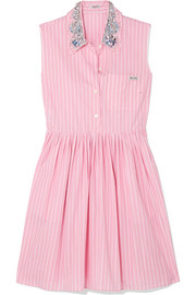 Embellished striped cotton-poplin mini dress