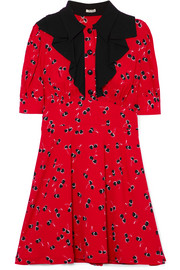 Miu Miu Printed crepe de chine mini dress