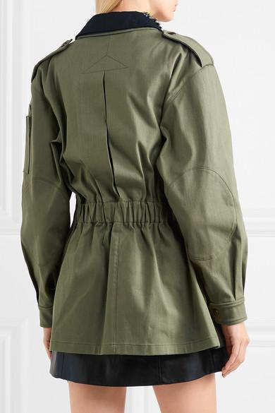 Miu Miu Verzierte Oversized-Jacke aus Drillich aus einer Baumwollmischung