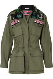 Miu Miu Oversized embellished cotton-blend drill jacket