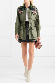 Oversized embellished cotton-blend drill jacket