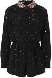 Miu Miu Embellished silk-georgette playsuit