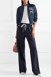 Miu Miu Cropped appliquéd stretch-knit cardigan