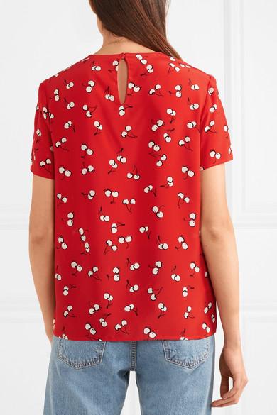 Miu Miu Bedrucktes T-Shirt aus Crêpe de Chine aus Seide