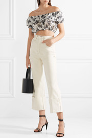Cropped off-the-shoulder floral-print ramie top