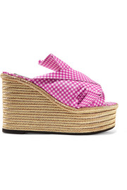 Knotted gingham twill espadrille wedge sandals