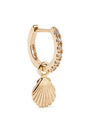 Shell 9-karat gold diamond hoop earring