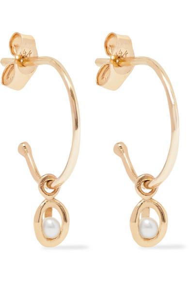SARAH & SEBASTIAN ORBIT 9-KARAT GOLD PEARL EARRINGS