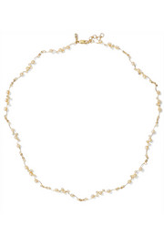 Lucid 9-karat gold, diamond and pearl choker