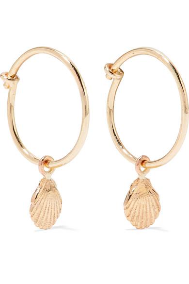 SARAH & SEBASTIAN SHELL 9-KARAT GOLD HOOP EARRINGS