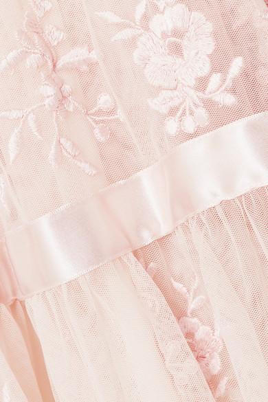 Needle & Thread Bestickte Robe aus Tüll mit Satinbesatz