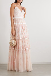 Satin-trimmed embroidered tulle gown