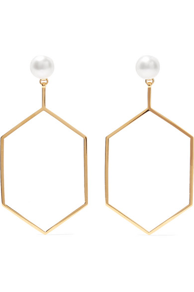 Natasha Schweitzer Foxy 14-karat Gold-plated Pearl Earrings D02PGRlh0