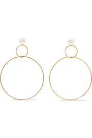 Gold-plated silver pearl hoop earrings