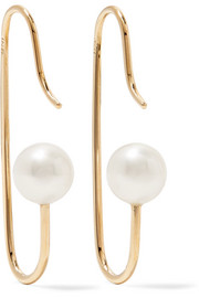 Mini Marion 9-karat gold pearl earrings