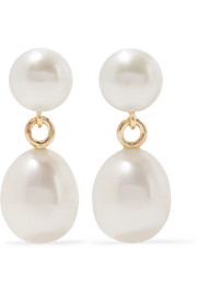 9-karat gold pearl earrings