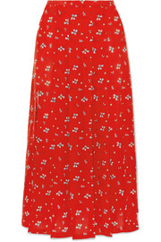 Georgia pleated floral-print silk midi skirt