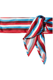 Striped silk-satin scarf