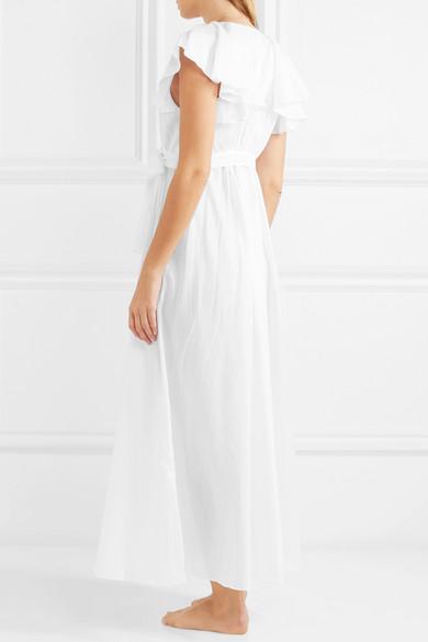 Three Graces London Laurie Nachthemd aus Baumwoll-Voile mit Seidenbesatz