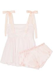 Hortense silk voile-trimmed cotton-voile pajama set