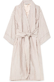 Isabella striped jacquard robe