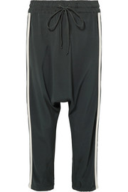 Alix cropped washed-silk track pants