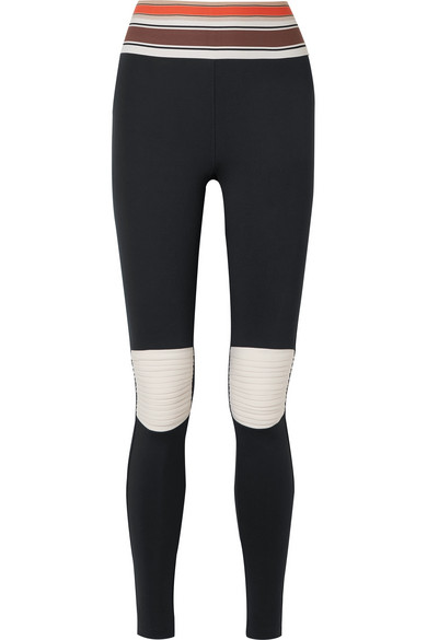OLYMPIA ACTIVEWEAR Moto Striped Stretch Leggings in Black