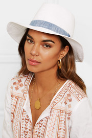 Melissa Odabash Chambray-trimmed woven paper fedora