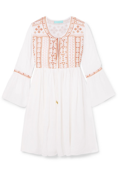 Natalia Embroidered Voile Mini Dress by Melissa Odabash