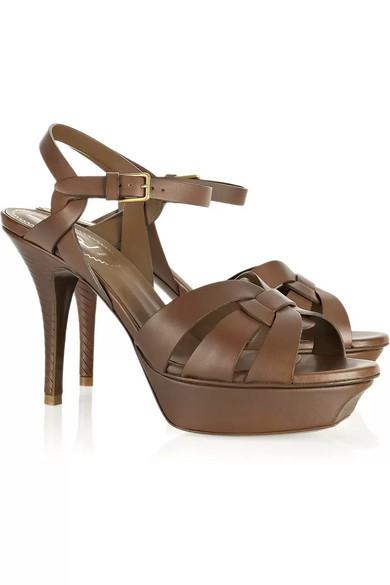 93497d84afc Yves Saint Laurent | Tribute leather mid-heel sandals | NET-A-PORTER.COM
