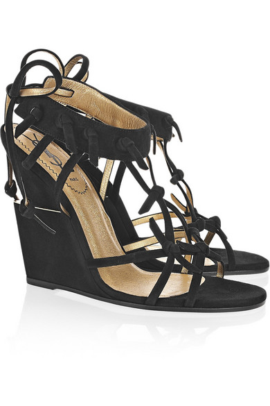 very cheap for sale discount 100% guaranteed Yves Saint Laurent Suede Wedge Sandals cheap fake l8UdmsHice