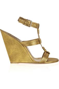 Yves Saint Laurent | Venice leather sculpted-wedge sandals | NET-A-PORTER.COM