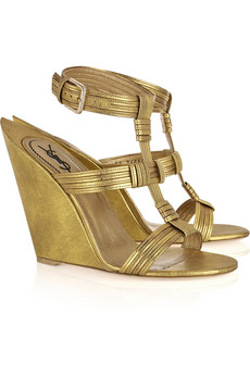 Yves Saint Laurent | Venice leather sculpted-wedge sandals | NET-A-PORTER.COM from net-a-porter.com