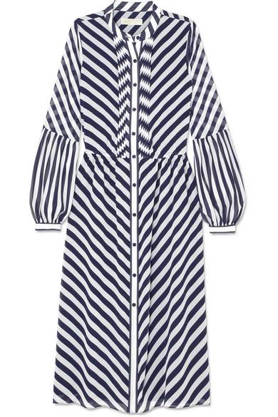 Michael Kors Striped Georgette Midi Dress