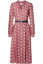 Belted floral-print crepe midi dress