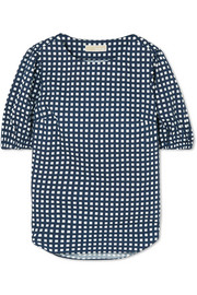 Checked cotton-blend poplin top