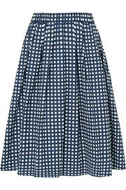 Checked cotton-blend poplin skirt
