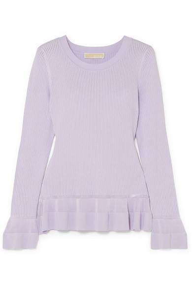 MICHAEL Michael Kors - Pointelle-knit Peplum Sweater - Lilac