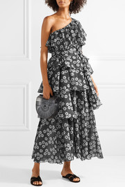 Arden one-shoulder printed cotton-voile maxi dress