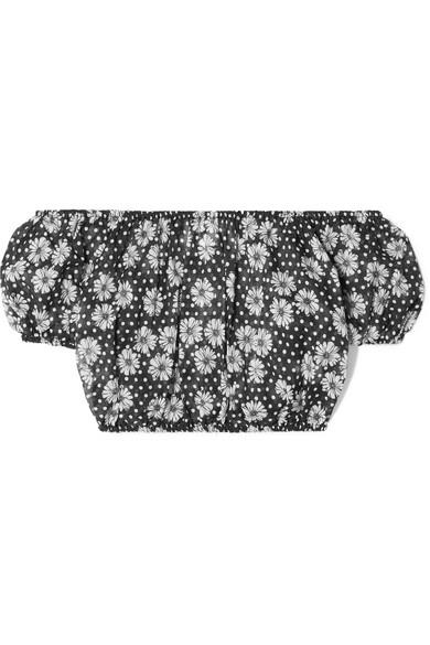 Lisa Marie Fernandez Leandra schulterfreies Oberteil aus bedrucktem Baumwoll-Voile
