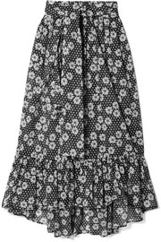Nicole printed cotton-voile maxi skirt